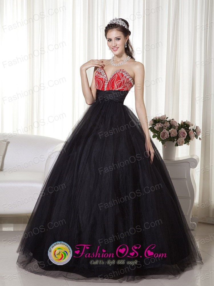 Red and Tull Black Princess Beaded Sweetheart 2013 Quinceanera ...