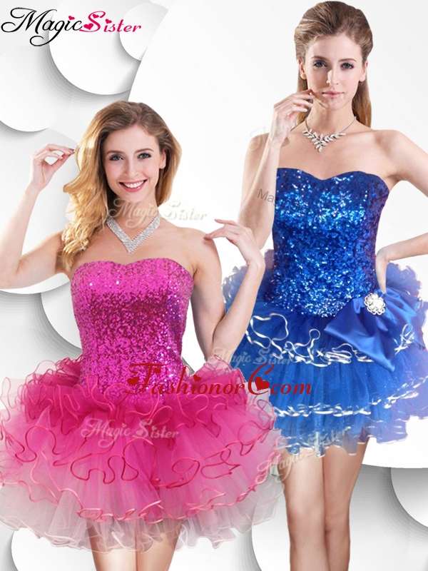 Hot Sale Short Strapless Dama Dress with Sequins and Ruffles SWPD008FB-1FOR