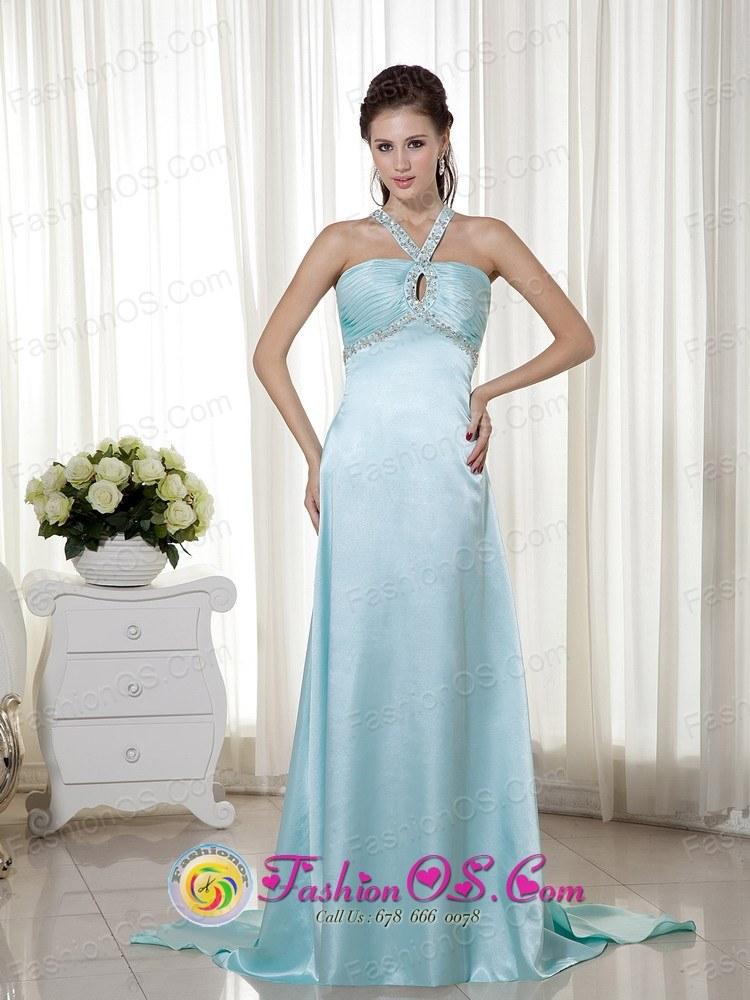Light Blue Prom Dress Key-hole Empire Halter Brush Train Satin ...