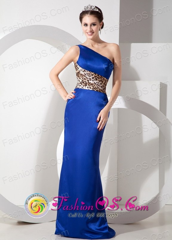 Stylish Lepard Royal Blue Taffeta Column Party Dress with One ...