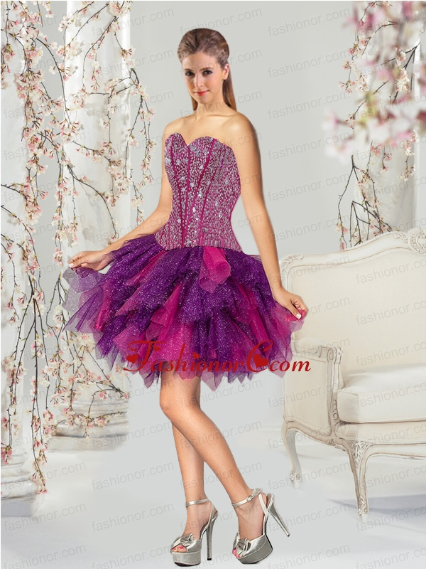 2015 Fashionable Multi-color Dama Dress with Beading and Ruffles QDDT003AFOR