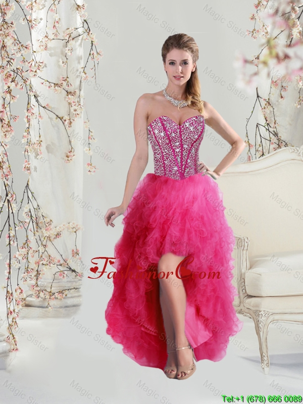 2016 Elegant High Low Sweetheart Beaded and Ruffles Dama Dresses in Hot Pink QDDTA5004FOR