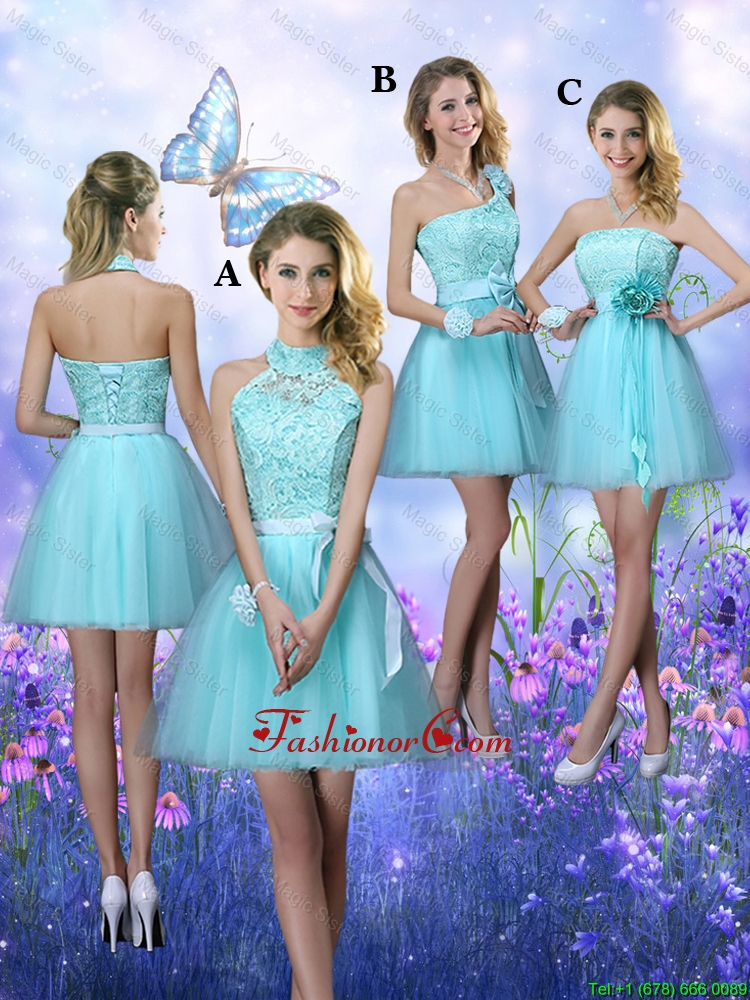 Beautiful A Line Aqua Blue Dama Dresses with Appliques BMT062FOR