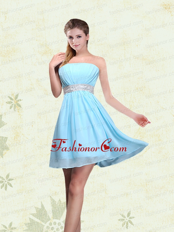 Strapless A Line Ruching Sequins Chiffon Dama Dresses BMT017CFOR