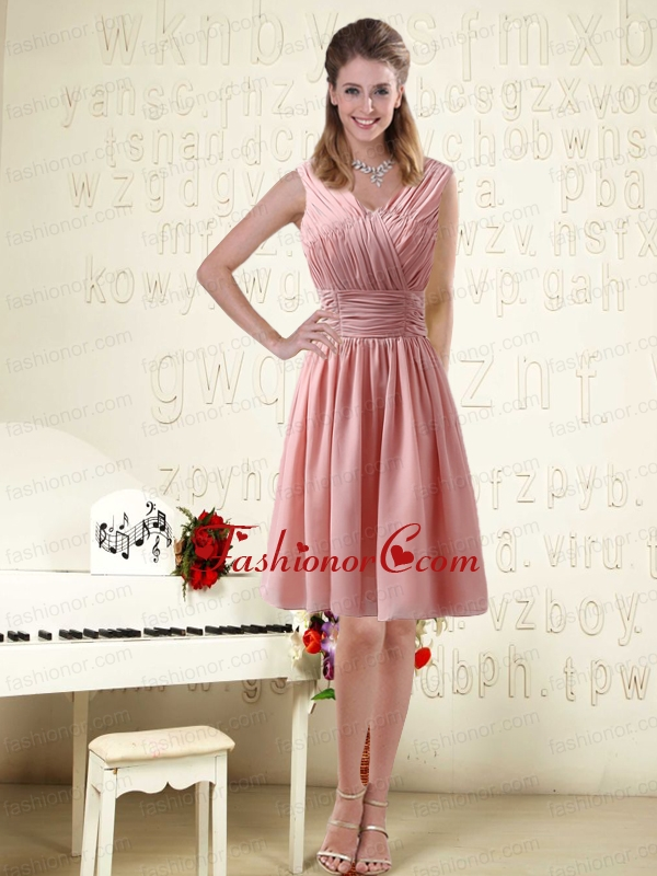 V Neck Empire Chiffon Ruching Dama Dresses for 2015 BMT004EFOR