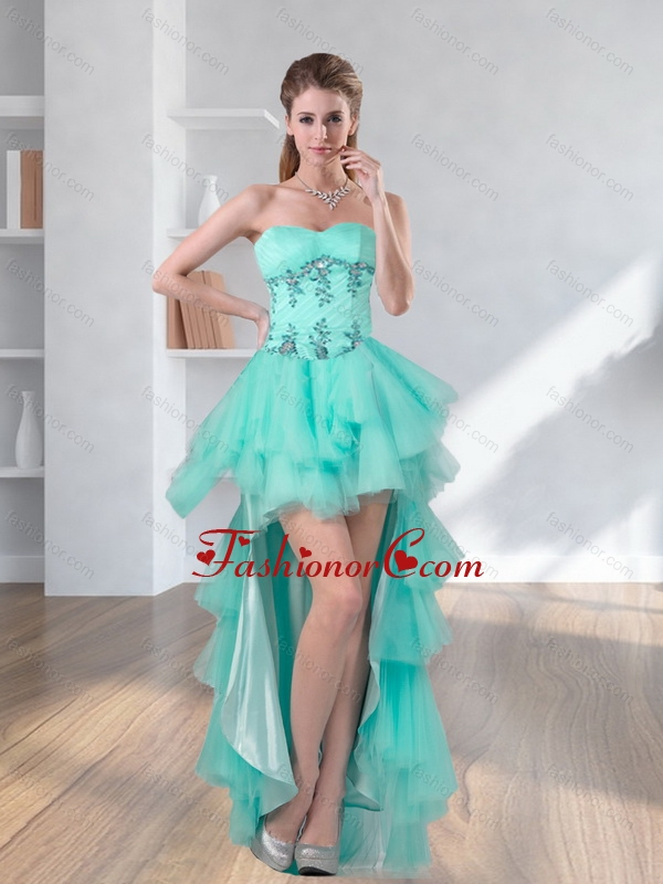 2015 High Low Turquoise Sweetheart Prom Dresses with Embroidery ...
