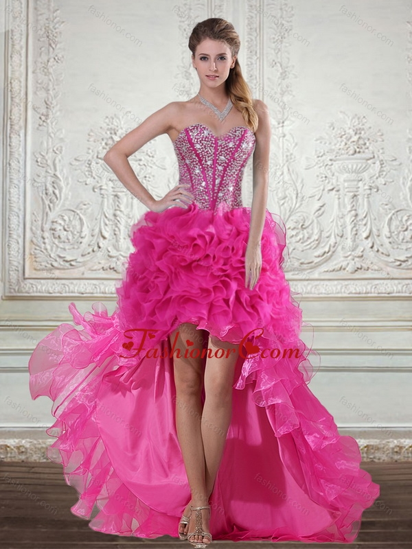 2015 Hot Pink High Low Sweetheart Prom Dresses with Beading and ...