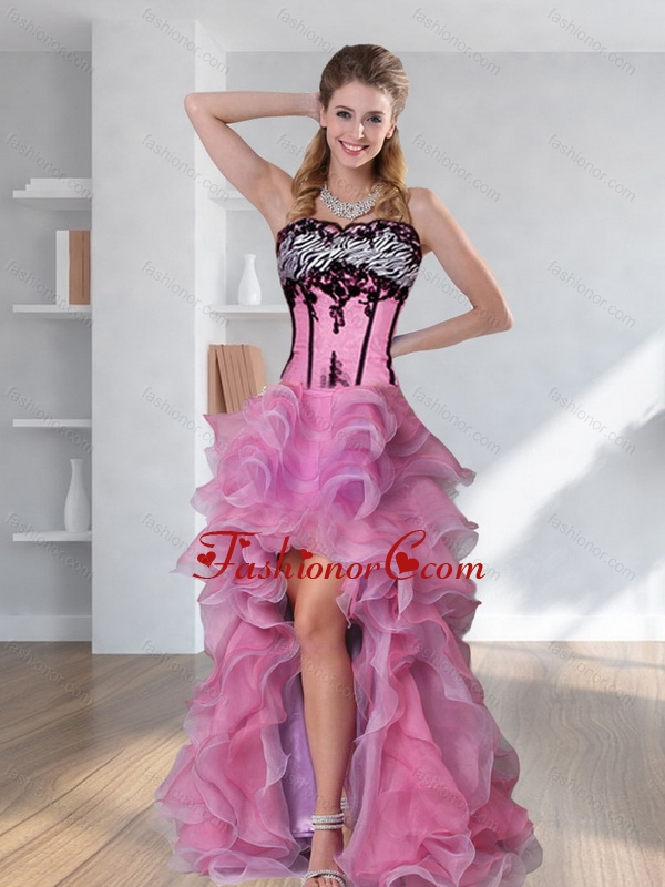 2015 Zebra Printed Strapless High Low Rose Pink Prom Dresses with ...