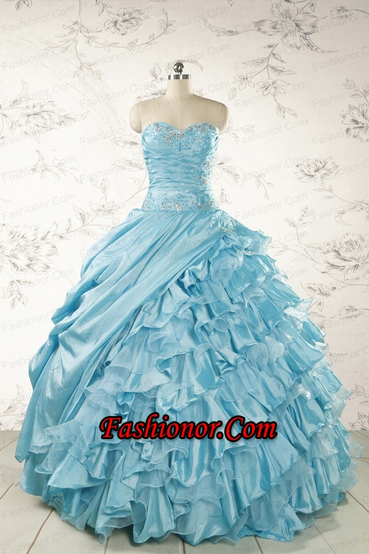Fashionable Beading Aqua Blue Quinceanera Dresses for 2015  FNAO158FOR