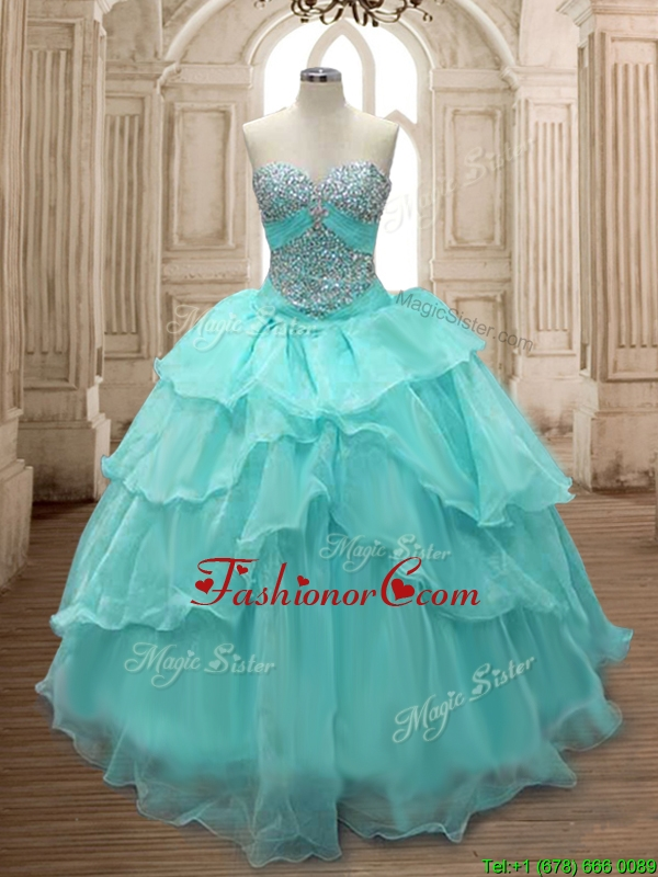 Discount Beaded and Ruffled Layers Quinceanera Dress in Aqua Blue for Spring SWQD158-1FOR