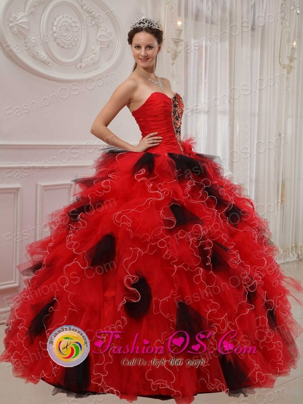 Beautiful Red and Black Quinceanera Dress Ball Gown Sweetheart ...