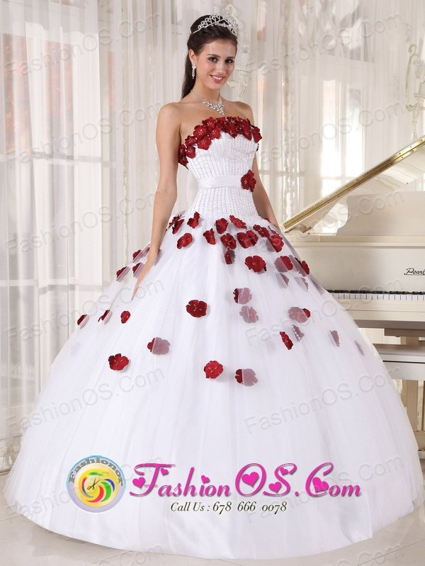 For Formal Evening White and Wine Red Quinceanera Dress Tulle ...