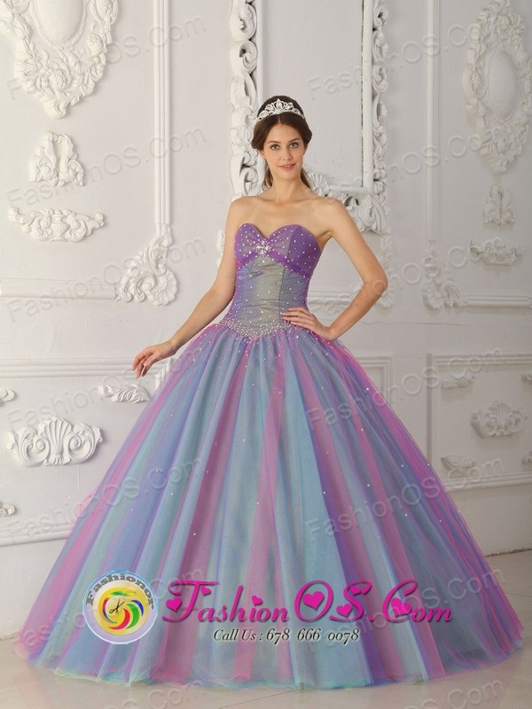 Multi-color Quinceanera Dress For Elegant Style Sweetheart Tulle ...