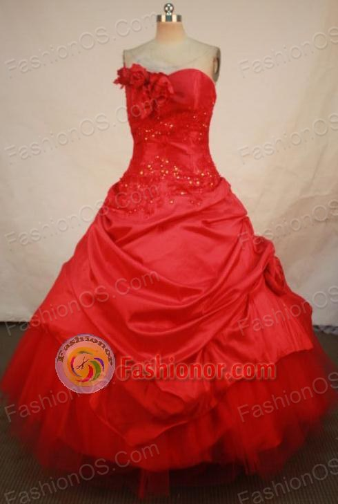 Popular Ball Gown Sweetheart Floor-length Quinceanera Dresses Appliques Style FA-Z-0278