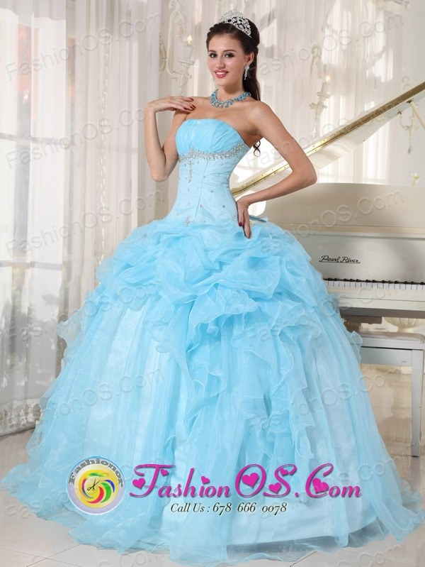 Sweet 16 Baby Blue Ball Gown Dresses With Organza Pick-ups Beading ...