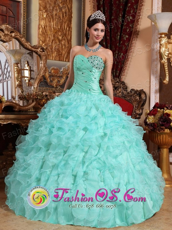Sweetheart Organza Beaded and Ruffles Apple Green Quinceanera ...