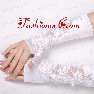 Elegant Satin Fingerless Elbow Length Bridal Gloves With Lace Appliques ACCGL12FOR