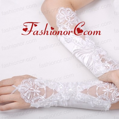 Fabulous Satin Fingerless Elbow Length Bridal Gloves With Appliques ACCGL08FOR