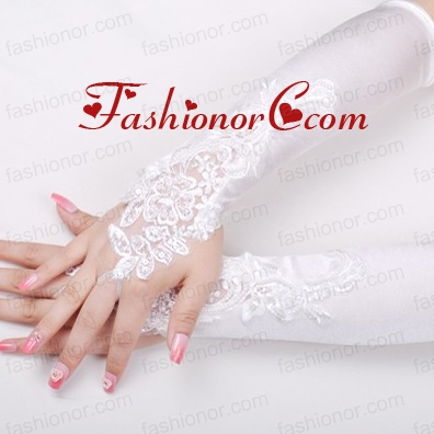 Satin Fingerless Elbow Length Bridal Gloves With Beading And Appliques ACCGL11FOR