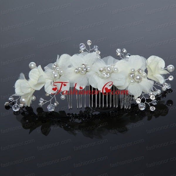 Green Tulle Rhinestone and Imitation Pearls 2014 Hair Combs ACCHP047FOR