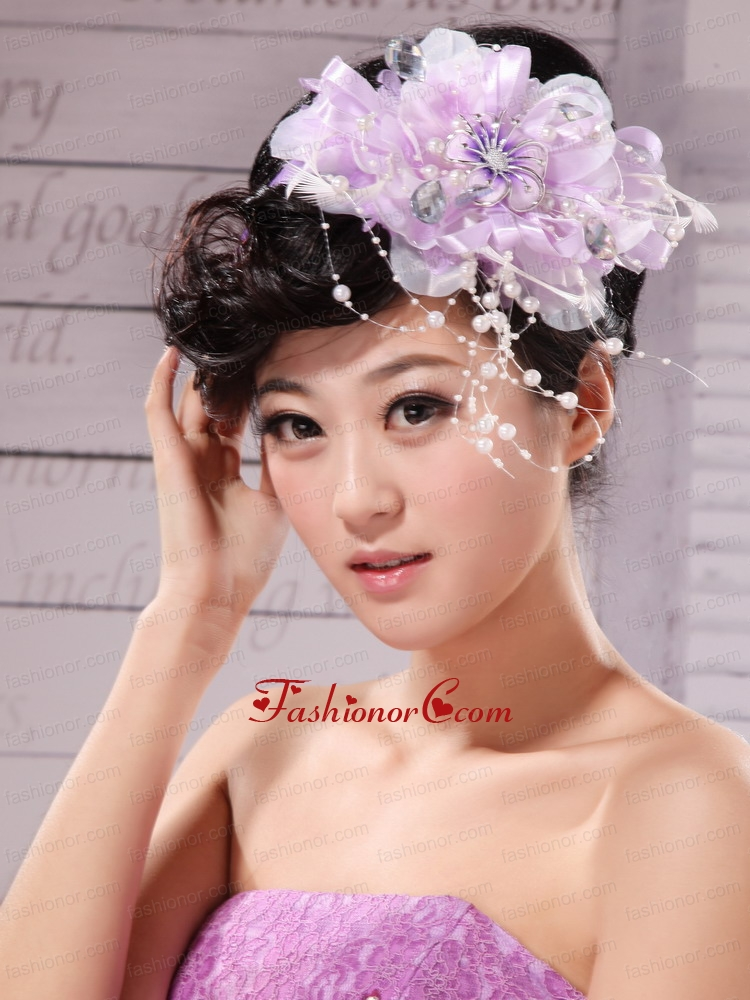 Lavender Beading and Hand Made Flowers For Headpiece XTH031FOR