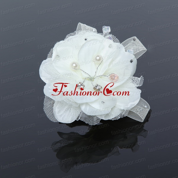 White Tulle Wedding Fascinators Hair Flower with Rhinestone ACCHP026FOR