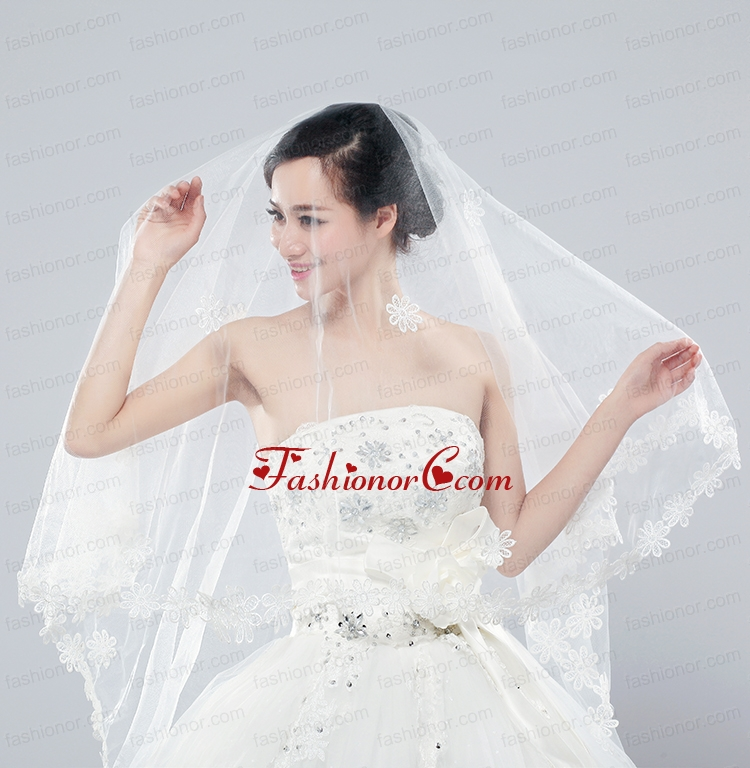 2014 Two-Tier Tulle  Elbow Veils with Lace Edge ACCWEIL025FOR