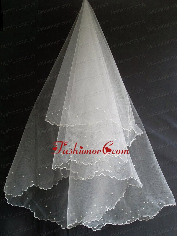 Beading Decorate Tulle Popular Wedding Veil RR111602FOR