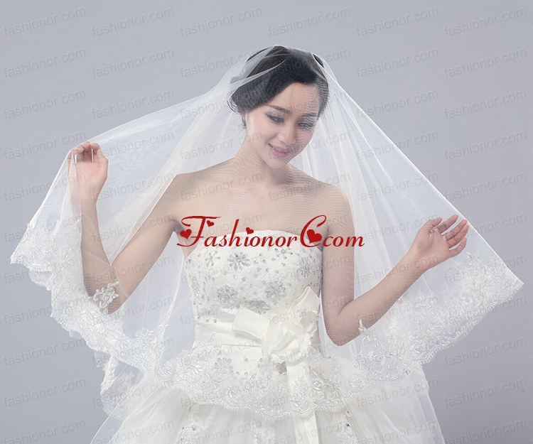 Two-Tier Tulle Drop Veil Bridal Veils for Wedding Party ACCWEIL016FOR