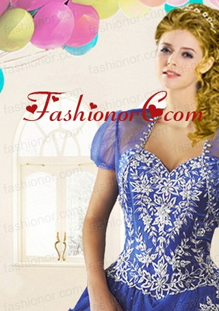 The Brand New Style Tulle Beading Quinceanera Jacket in Blue ACCJA109FOR