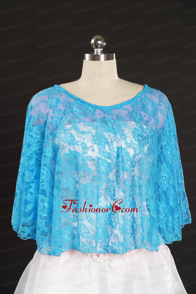 Fashionable Beading Lace Wraps in Aqua Blue JSA005-9FOR