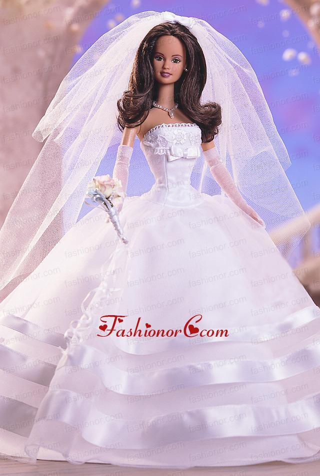 Fashion Handmade Quinceanera White Organza Wedding Dress For Quinceanera Doll Babidf359for