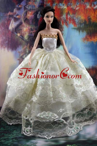 Lace Over Skirt And Ball Gown Made To Fit The Quinceanera Doll Babidf195for