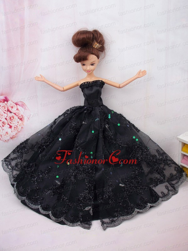 Modest Ball Gown Lace Black Party Clothes Quinceanera Doll Dress ...