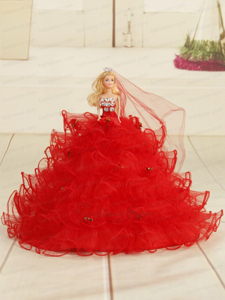 Red Bowknot Organza Quinceanera Doll Dress Quinceanera009for