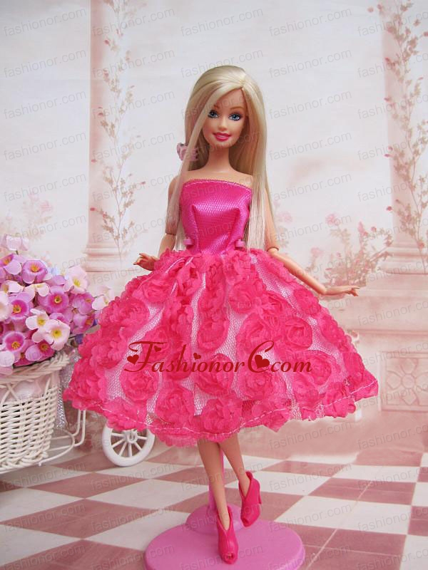 Sweet Ball Gown Hot Pink Hand Made Flowers With Tea-length Made To Fit The Quinceanera Doll Babidf244for