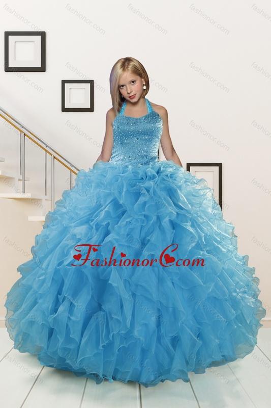 2015 Exclusive Beading and Ruffles Aqua Blue Flower Girl Dress ...
