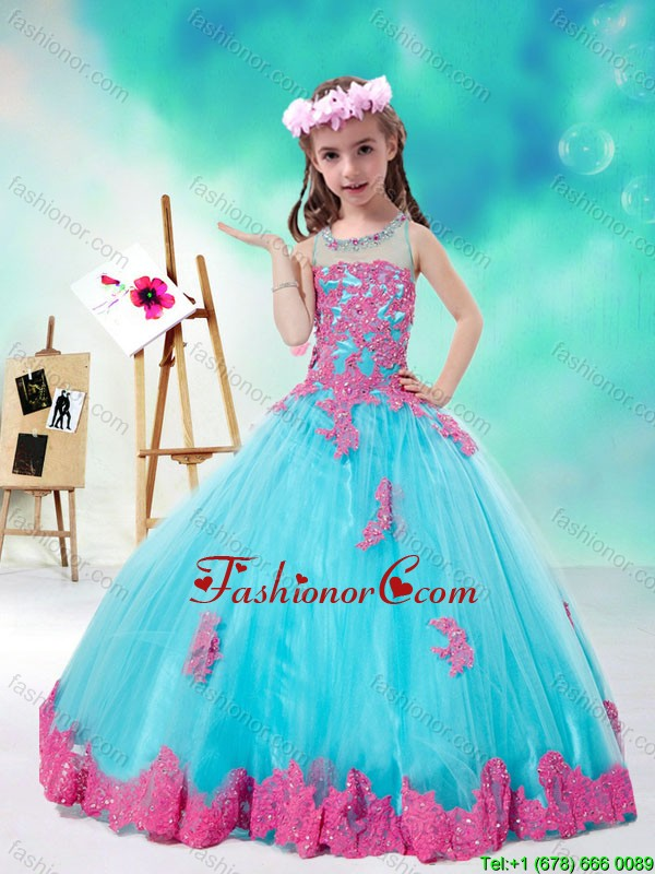 Cheap Scoop Multi Color Little Girl Pageant Dresses with Appliques PAG196-1FOR