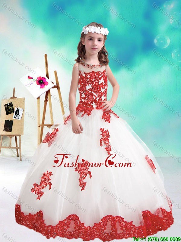 Lovely Beaded and Appliques Little Girl Pageant Dresses in White and Red PAG196FOR
