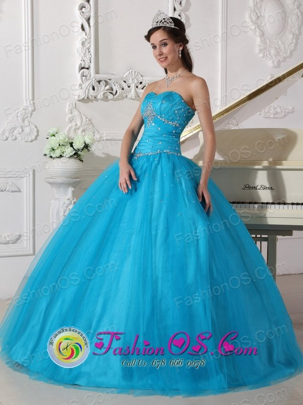 Beaded Decorate Sweetheart Tulle Romantic Teal Ball Gown For 2013 Chivilcoy Argentina Winter Quinceanera  Style QDZY732FOR