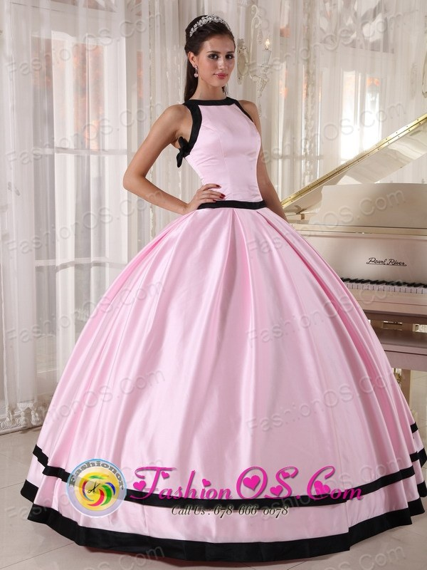 For Sweet 16 Bateau Taffeta Affordable Baby Pink and Black ...
