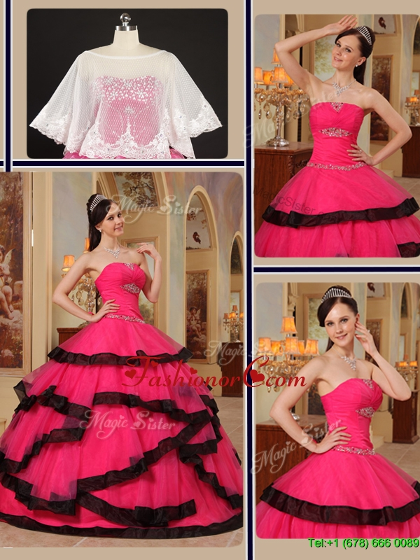 Modest Ball Gown Strapless Quinceanera Gowns with Beading  QDZY391CFOR