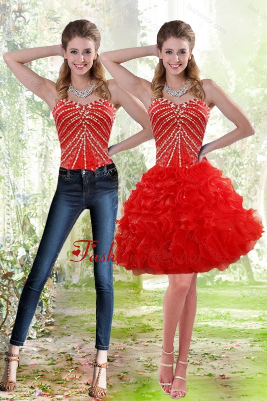 Detachable 2015 Red Prom  Skirts with Beading and Ruffles XFNAO092TZB1FOR
