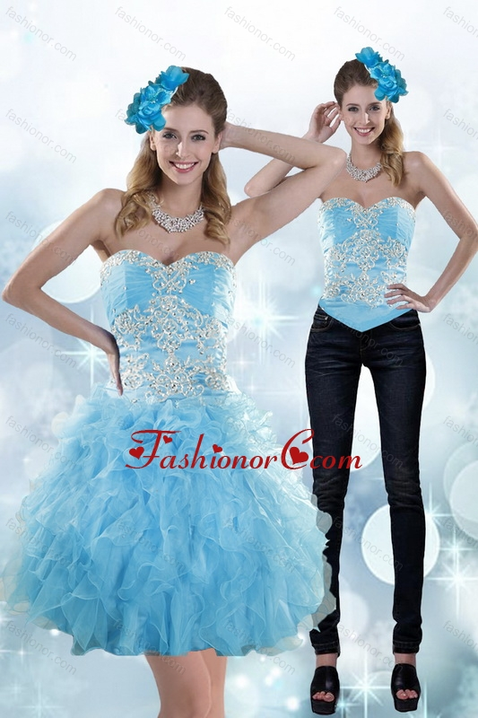 Detachable Appliques and Ruffles Sweetheart Aqua Blue Prom Skirts for 2015 XFNAOA45TZB1FOR