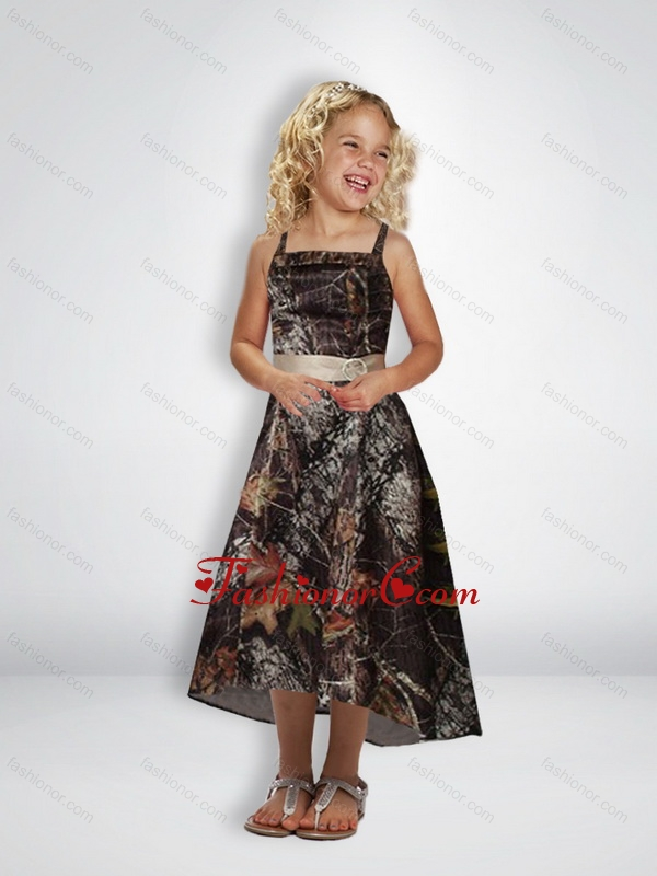 36f37c996c1 Elegant A Line Straps Tea Length Camo Flower Girl Dresses with Beading  CMLD013FOR