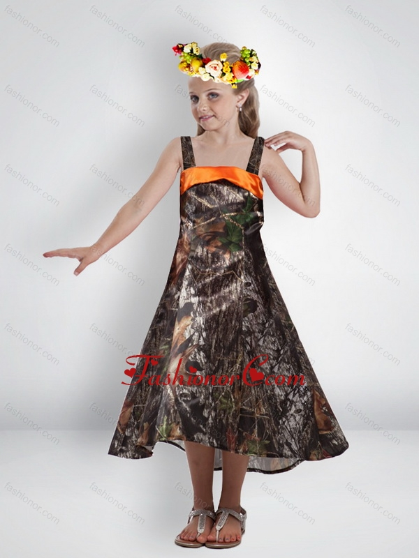 Elegant High Low Straps Camo Flower Girl Dresses with Sashes CMLD011FOR