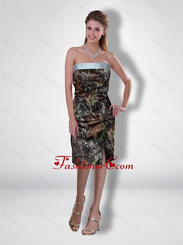 Flirting 2015 Column Strapless Tea Length Camo Prom Dresses ...