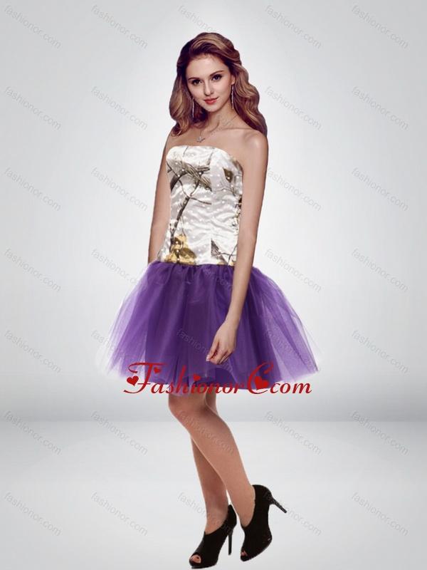 The Super Hot Mini Length Strapless Camo Prom Dresses in Multi Color ...