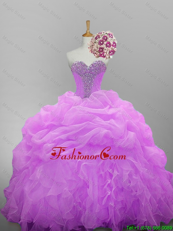 2015 Fall Pretty Sweetheart Quinceanera Dresses with Beading and Ruffled Layers SWQD014-12FOR