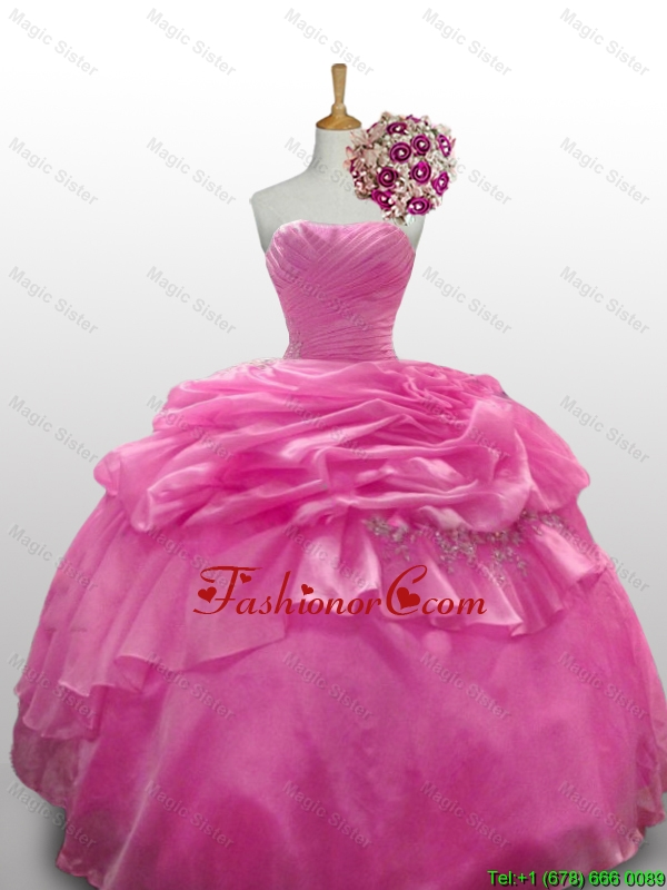 2016 Summer Perfect Sweetheart Rose Pink Quinceanera Dresses with Paillette SWQD010-12FOR